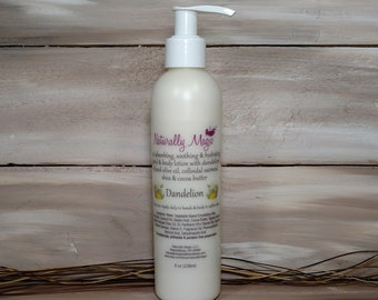 Dandelion Lotion 8oz. Pump Bottle with Oatmal Dandelion Infused Oil Coconut Oil, Shea and Cocoa  Butter