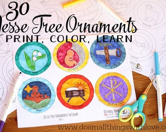 graphic regarding Jesse Tree Symbols Printable called Jesse tree Etsy