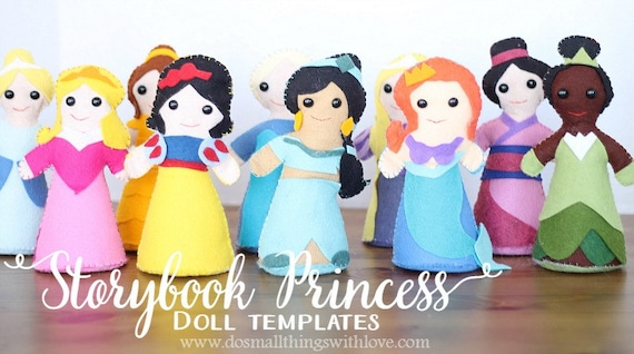 storybook princess doll template felt princess pattern etsy