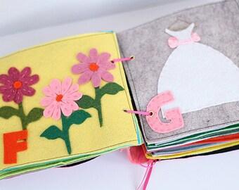 Felt Quiet Book Pattern, Alphabet Book For Girls, Toddler Toy Template