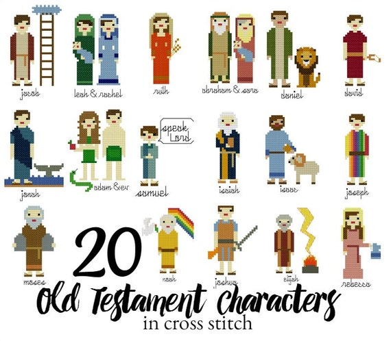 bible characters pictures bible characters in cross stitch,  old testament character cross stitch  patterns, instant download