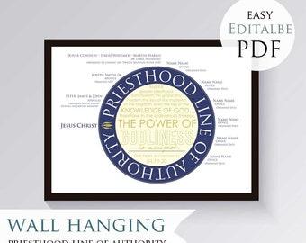 Priesthood Line of Authority - Modern Circular Design - EDITABLE PDF - Printable, LDS, Mormon, ordination gift, Elder, High Priest