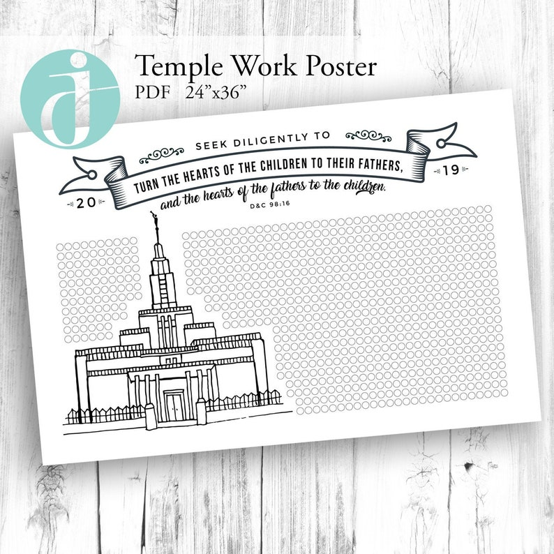 Draper Temple Work Poster chart for your family or ward PDF Family history  Genealogy baptisms endowment sealing indexing research 24x36