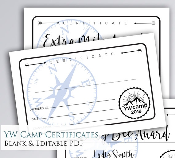 simple printable young women camp certificates awards etsy