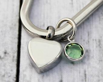 Heart Urn Keychain - Cremation - Ashes - Key chain - Cremation Heart - Always In My Heart - Birthstone -Sympathy Gift - Memorial