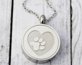 Cremation Urn Necklace - Loss of a dog - Heart - Paw Print - Ashes - Cremation Jewelry - Dog Loss - Pet Sympathy Gift - Dog Memorial