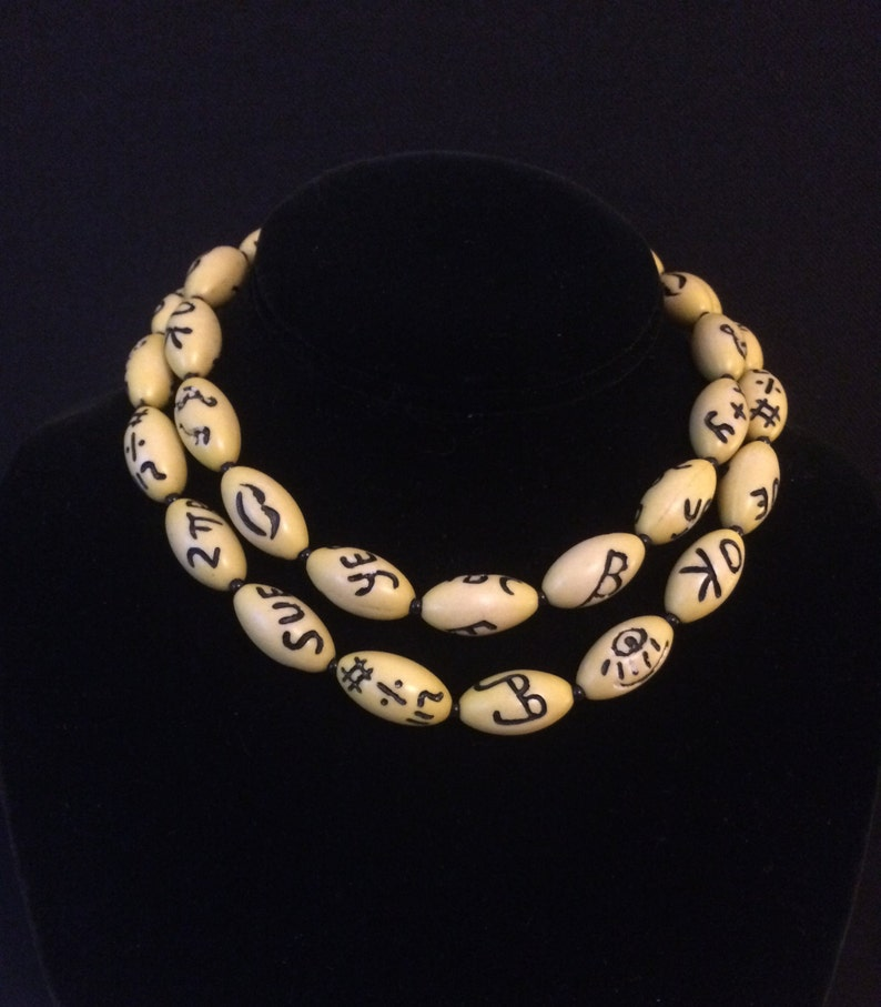 Fun Vintage Lucite Carved Letters Necklace Names & Symbols on Yellow Beads  Long Restrung