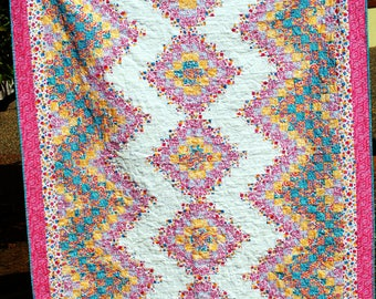 Springtime Bargello Style, Queen Bed Topper, Hand made