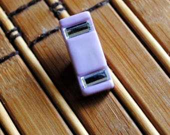 Vintage Acrylic Lavender Rectangle Shank Style Button with Rhinestones