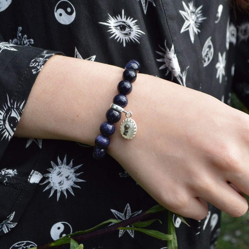 Star Bracelet Genuine Shooting Star Bracelet Iron Meteorite Sterling Silver 925 Blue Goldstone Bracelet