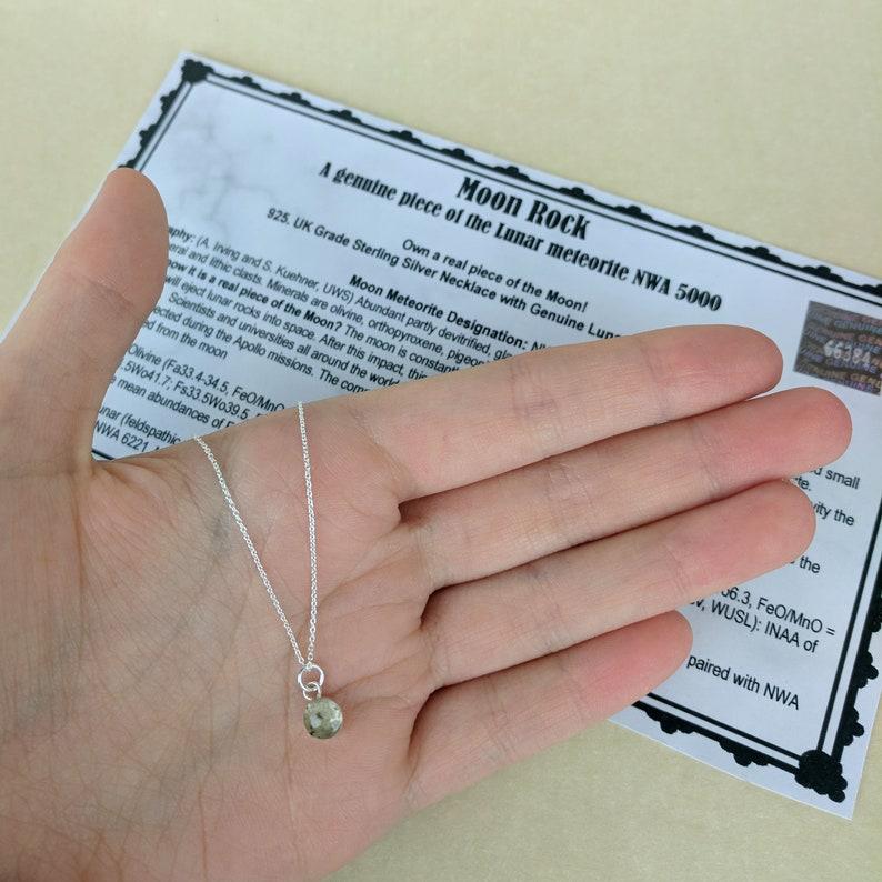 Genuine Lunar Meteorite Moon Dust Hand Blown Necklace 925 Sterling Silver