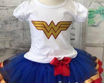 Wonder Woman Tutu Outfit Birthday Shirt