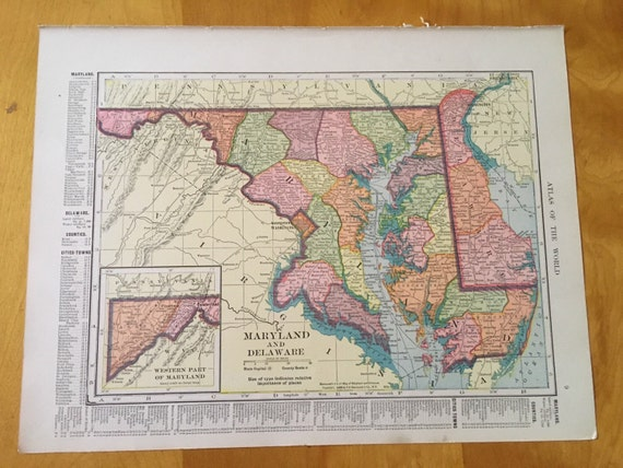 Frameable World Map.Vintage Map Of Maryland And Delaware 1909 Antique Map Ohio Etsy
