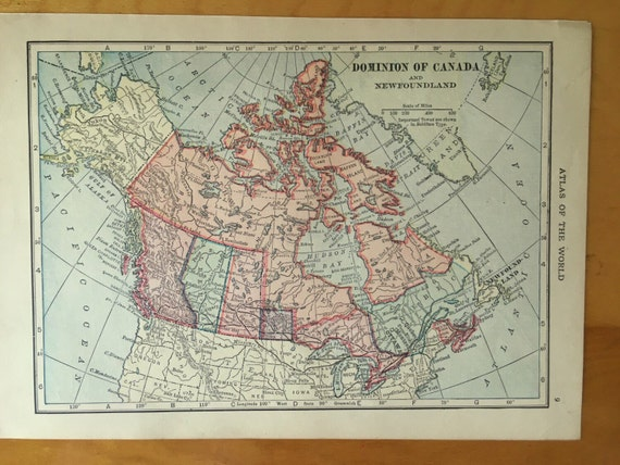 Frameable World Map.Canada Antique Map Vintage Map 1911 Dominion Of Canada And Etsy