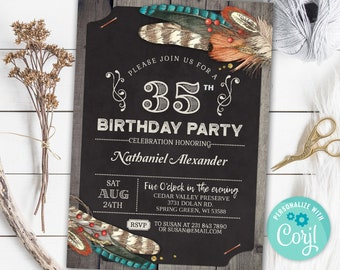 35th Birthday Invitation THIRTY FIVE Invite Hunting Rustic Party Wood Digital INSTANT Download 5x7 Editable Adult Mens Male Boy Guys