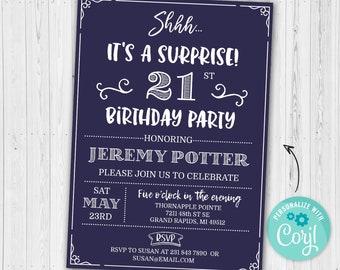 Surprise 21st Birthday Invitation TWENTY ONE Invite Party Navy Blue Digital INSTANT Download 5x7