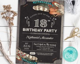 18th Birthday Invitation EIGHTEEN Invite Hunting Rustic Party Chalk Board Digital INSTANT DOWNLOAD 5x7 Editable - adult mens male boy guys