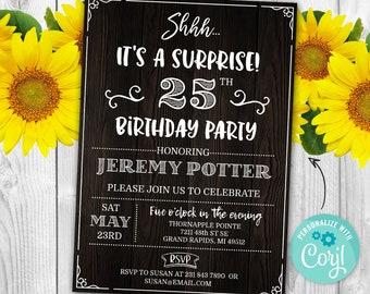 Surprise 25TH Birthday Invitation TWENTY FIFTH Invite Party Wood Rustic Digital INSTANT Download 5x7