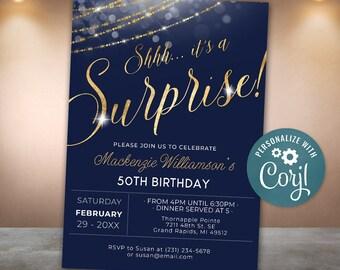 navy blue and gold birthday invitation template adult birthday editable balloons birthday party invites printable birthday invitation