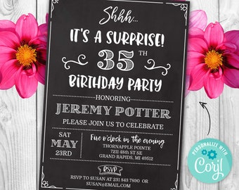 Surprise 35th Birthday Invitation THIRTY FIVE Invite Party Chalk Board Digital INSTANT Download 5x7