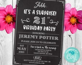 Surprise 21st Birthday Invitation TWENTY FIRST Invite Party Chalk Board Digital INSTANT Download 5x7