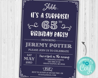 Surprise 65th Birthday Invitation SIXTY FIVE Invite Party Navy Blue Digital INSTANT Download 5x7