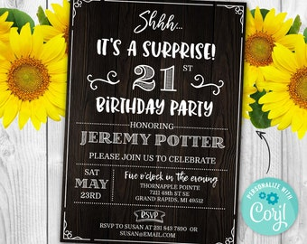 Surprise 21st Birthday Invitation TWENTY FIRST Invite Party Wood Rustic Digital INSTANT Download 5x7