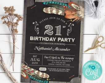 21st Birthday Invitation TWENTY ONE Invite Hunting Rustic Party Chalk Board Digital INSTANT Download 5x7 Editable Adult Mens Male Boy Guys