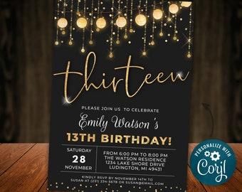 13th Birthday Invitation, 13th Birthday Invite, Gold and Black Invitation, Glitter Invite, Digital INSTANT download Editable Teen Girl