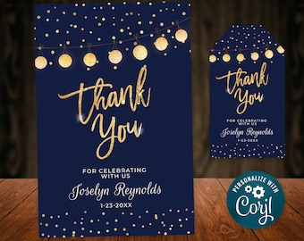 Birthday Thank You Card Editable Template Navy Gold Glitter Lights Digital INSTANT download 5x7 Editable Personalized B95