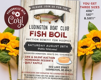 Fish Boil Benefit Fundraiser Invitation -  Digital Instant Download 4x6, 5x7 Editable and 8.5x11 Flyer