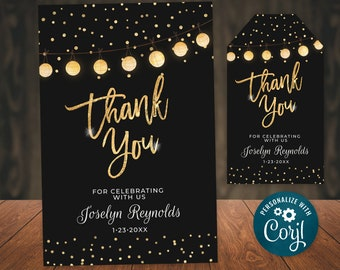 Birthday Thank You Card Editable Template Black Gold Glitter Lights Digital INSTANT download 5x7 Editable Personalized B95