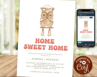 Housewarming Party Invitation Rustic Boho Home Sweet Home New House Invite Macrame INSTANT DOWNLOAD Digital Printable & Editable HWP16