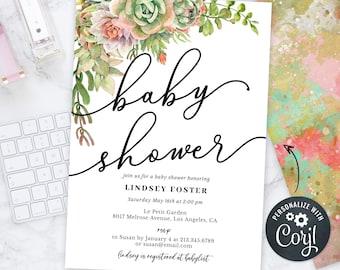 Baby Shower Invitation, Succulents Invitation, Plants Floral Invitation, Baby Shower Invite, INSTANT DOWNLOAD Personalize Editable