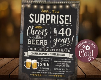 40th Cheers and Beers Surprise  Birthday Party Invitation - FORTY  - Chalkboard Wood Digital INSTANT Download Editable adult mens male guys