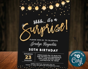 Surprise Birthday Invitation Invite Party ANY AGE Black Gold Glitter Lights Digital INSTANT download 5x7 Editable adult mens womens B95
