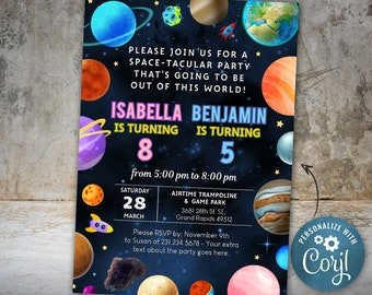 Joint Birthday Invite Planet Birthday Invitation, Outer Space Party Invite, Space Themed Birthday Party Invitation INSTANT DOWNLOAD Editable