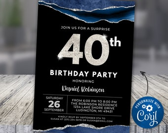 40th  Birthday Invite FORTY - Blue Silver Agate Glitter Vein, Adult Birthday Invite Digital Instant Download Editable, APBBL