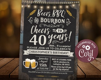 Any Age - Cheers, Beers BBQ and Bourbon Birthday Party Invitation Chalkboard & Wood Digital INSTANT Download 5x7 Editable adult Mens Womens