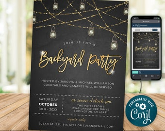 Rustic Backyard Party Invitation Template Outdoor Party Invitation, Electronic Invitation, Digital INSTANT download Editable 0010