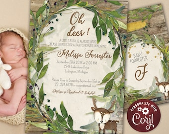 Deer Baby Shower Invitation - Little Deer Baby Shower - Rustic Woodland - Baby Boy - Little Buck - Printable Editable - WBS7
