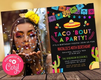 Any Age Taco Bout a Party Photo Invitation - Fiesta Birthday Party Photo Invite Cactus Invite - Digital INSTANT download Editable FST