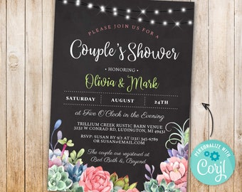 Couple's Shower Engagement Party Succulents Floral Lights Chalk INSTANT DOWNLOAD Engaged Rustic Greenery Personalize Editable Printable