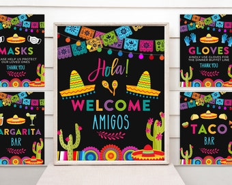 Printable Taco Bout a Party Sign Bundle - Fiesta Birthday Party Sign Bundle - Digital INSTANT download Editable FST