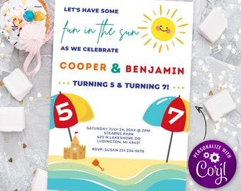 Dual Joint Birthday - Kids Beach Birthday Invitation - Summer Kids Beach Party - Beach Ocean Birthday - Digital INSTANT DOWNLOAD