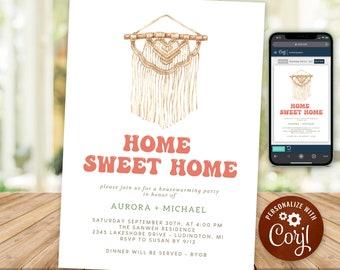 Housewarming Party Invitation Rustic Boho Home Sweet Home New House Invite Macrame INSTANT DOWNLOAD Digital Printable & Editable HWP17