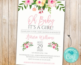 INSTANT DOWNLOAD - Pink Floral Baby Shower Invitation Template - Girl Baby Shower Flower Invite - Its a girl