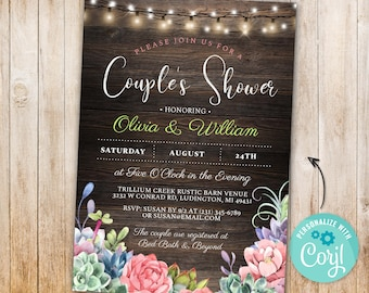 Couple's Shower Engagement Party Succulents Floral Lights Wood   INSTANT DOWNLOAD Engaged Rustic Greenery Personalize Editable Printable