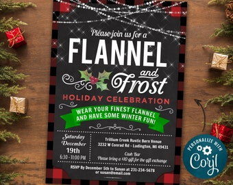 Flannel & Frost Party Invitation, Flannel Christmas Party Invite, Holiday Party Invitation, Rustic Winter Invitation - INSTANT DOWNLOAD