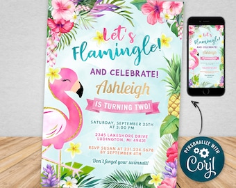 Digital and Printable Flamingo Birthday Party Invitation Flamingo Theme Party, Electronic Invite & Thank You Editable Instant Download FPTY